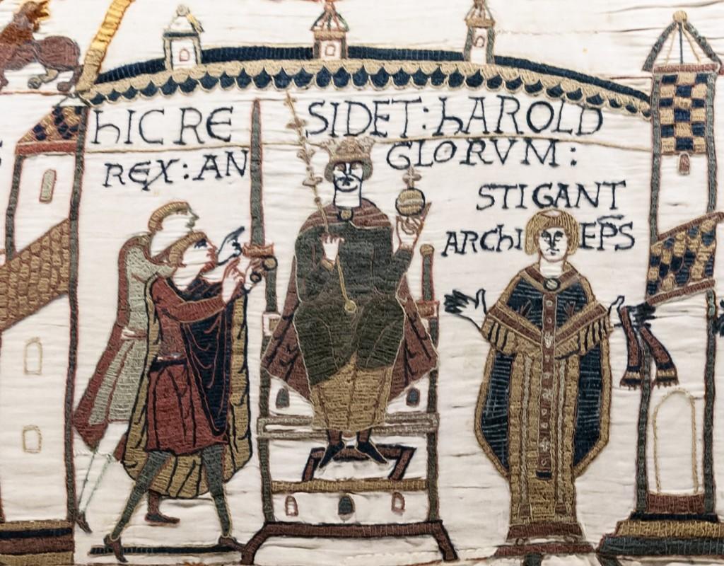 Tapisserie de Bayeux - Scènes 29-30-31 : le couronnement de Harold