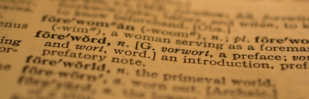 Dictionary definition of foreword